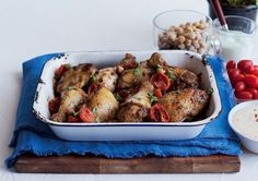 Get your protein fix with this incredible mid-week bake. The spicy chicken is packed with the warm flavours of chilli, paprika, cumin and cinnamon. Chicken Chickpea, Roasting Tins, Cherry Tomatoes, Chicken Wings, Poultry, Spicy, Potatoes, Budget, Dishes