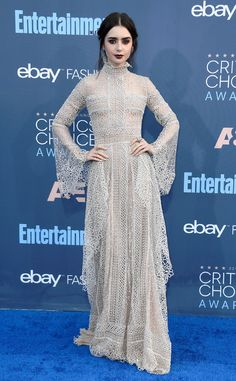 The actress looked romantic and beautiful in this soft, beige, see-through gown, which she made a little edgy with dark lips.