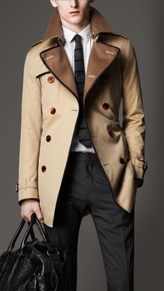 Burberry Mid-Length Wool Collar Cotton Gabardine Trench Coat