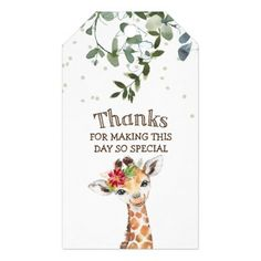 Jungle Safari Giraffe Thank You Favor Gift Tags Baby Shower Thank You Gifts, Baby Shower Party Favors, Baby Shower Parties, Safari Theme, Jungle Safari, Custom Ribbon, Personalized Gift Tags, Thank You Tags, Newborn Baby Gifts