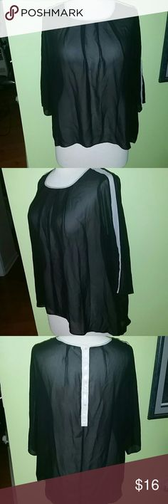 Semi Sheer Oversized High Low Top - Size 18/20 Stylish and chic Eloquii semi sheer top. This top has so much style potential. This is a size 18/20 that measures as follows: BUST: 54 inches flowy oversized fit, LENGTH: 28 inches front 38 inches back. This item is in EXCELLENT condition. Please be sure to check out my Poshmark Closet for fantastic items. Eloquii Tops