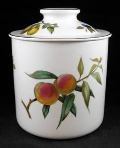 Royal Worcester EVESHAM GOLD Large Canister Pear Raspberry Plum GREAT CONDITION #ROYALWORCESTER