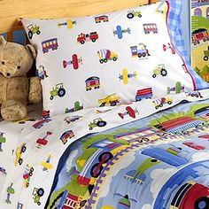 Toddler Bedroom Sets  Boys on Trains  Airplanes Fire Trucks Toddler Boy Sheet Set By Olive Kids