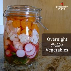 Easy and delicious pickling recipe - use for any veges! Canning Pickles, Pickled Eggs, Fermented Foods, Canning Recipes, Fruits And Veggies, Recipe Using, Vegetable Recipes, Yummy Food, Favorite Recipes