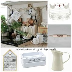Country kitchen with all kinds of things hanging and dangling- use kitchen rails and hooks (spices in little bowls, greens, stacked cups, canisters, open shelving) Shabby Chic Kitchen Accessories, Kitchen Rails, Shabby Vintage, Country Kitchen, Open Shelving, Vintage Kitchen, Table Settings, Cottage, Canisters