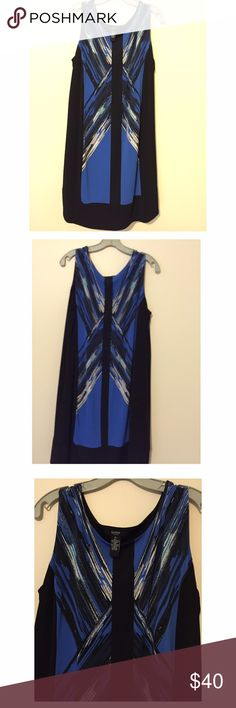 "Alfani Woman 1X Blue Geometric Print Dress 95% Polyester 5% Spandex Dress - Includes attached loose slip.  Bust 44"", length 38"", hip 50"" Alfani Dresses"