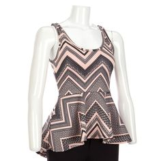 Blush/Black Chevron Peplum Top-Jr.
