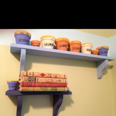 Classic Pooh nursery I can make the Hunny Pots but I WANT those books! Classic Pooh nursery I can m Winnie The Pooh Nursery, Bear Nursery, Disney Nursery, Baby Disney, Nursery Room, Girl Nursery, Winnie The Pooh Decor, Kids Bedroom, Nursery Themes