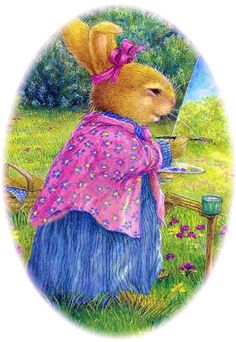 Painting by Susan Wheeler ★ Beatrix Potter, Susan Wheeler, Decoupage Vintage, Peter Rabbit, Bunny Painting, Marjolein Bastin, Rabbit Art, Bunny Art, Woodland Creatures