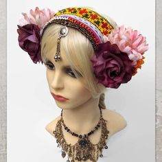 Tribal Belly Dance Headband - ATS Costume Headdress - Festival Headdress #TribalBellyDance #TribalFusion #AtsCostume #TribalHeadpiece #AtsHeadpiece #FlowersHeaddress