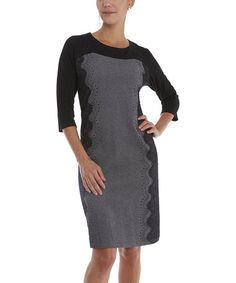Loving this Black & Gray Scalloped Lace Dress - Women & Plus on #zulily! #zulilyfinds