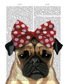 Pug Dog With Red Bow on Head Acrylic Art Original Painting Print Mixed Media wall art wall decor Wall Hanging Pugs, Pug Puppies, Artist Canvas, Canvas Art, Bow Art, Book Page Art, Dog Paintings, Pug Love, Wall Art Pictures