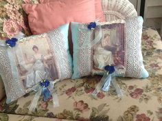 Two Victorian pillows with images of ladies in by cindysvictorian