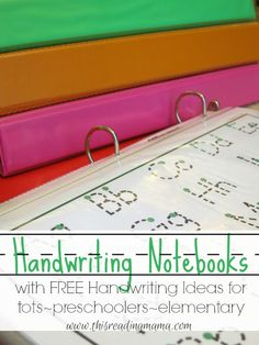 Handwriting Notebooks with LOTS of FREE Resources! Handwriting Notebooks with LOTS of FREE Resources for Toddlers, Preschoolers and Elementary-Age Kids Preschool Kindergarten, Preschool Learning, Preschool Activities, Kids Learning, Writing Center Preschool, Kindergarten Handwriting, Preschool Printables, Learning Centers, Pre Writing