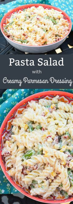 Pasta Salad with Creamy Parmesan Dressing is has a ton of flavor and a fresh touch from blanched corn on the cob and asparagus. Pasta Salad with Creamy Parmesan Dressing is has a ton of flavor and a fresh touch from blanched corn on the cob and asparagus. Easy Pasta Salad, Pasta Salad Recipes, Summer Salad Recipes, Summer Salads, Parmesan Dressing, Healthy Recipes, Cooking Recipes, Rice Recipes, Risotto