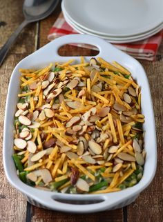 Classic green bean casserole made easy using Campbell's. Love the hickory sticks and sliced almonds! #cookwithcampbell #ad