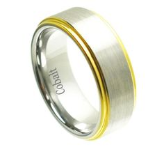 Cobalt Yellow Tone Shiny Edge & Brushed un-Plated Center 8MM
