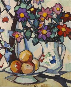 flowers and fruit by Samuel John Peploe – still life – oil on canvas. – Samuel John Peploe was a Scottish Post-Impressionist painter, noted for his still life works and for being one of the group of four painters that became known as the Scot Still Life Drawing, Painting Still Life, Still Life Art, Art Floral, Oil Painting Reproductions, Art Plastique, Painting Inspiration, Flower Art, Art Gallery