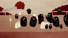 Ohtlik rändetee / Dangerous Migration Route by Chintis Lundgren. Tekst at the end: Birds need a safe migration rout!