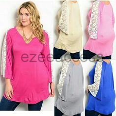 """Plus size tunic top blouse t-shirt Sexy crochet All colors are available except blue . Please comment with color and size needed, -BRAND NEW . - Stretchy Knit fabric. (95% RAYON 5% SPANDEX) - Stretchy lightweight fabric. - Floral lace insert in the sleeves. - loose fit and VERY STRECRCHY.  - Total lenghth is 34""""  *Ask for availabile colors and sizes Boutique  Tops Blouses"""