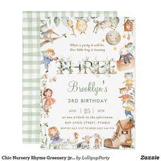 Chic Nursery Rhyme Greenery 3rd Birthday Neutral Invitation