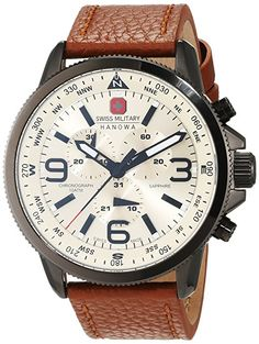 Swiss Military Men's Quartz Watch with Beige Dial Chronograph Display and Brown Leather Strap Best Watches For Men, Amazing Watches, Beautiful Watches, Cool Watches, Stylish Watches, Luxury Watches, Watches Photography, Swiss Army Watches, G Shock Watches