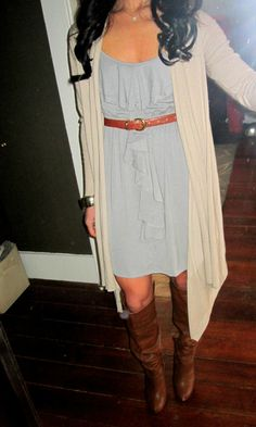 I love how the sweater is longer than the dress! So cute. I would never have thought of that