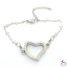 Cute Style Heart Crystal Silver magnetic stainless steel glass floating lockets with Cross rolo chain bracelets Locket Bracelet, Bangle Bracelets, Bangles, Pendant Necklace, Floating Lockets, 316l Stainless Steel, Jewelry Accessories, Crystals, Rolo