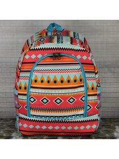 Aztec Print Large Backpack with Aqua Trim #aztec #aztecprint #aztecbackpack