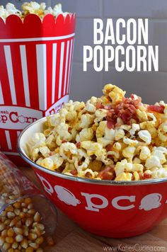 5 ingredient Bacon Popcorn Recipe via KatiesCucina.com  >> #WorldMarket Snacks, Appetizers, Recipes