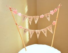 Etsy Shop: bopeepbaby.  It's A Girl Cake Bunting - Baby Shower Party Flags - Hand-stamped. $15.00, via Etsy.