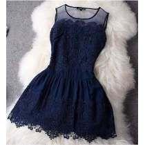 Vestido Renda Vintage Azul Branco Festa Casamento Formatura