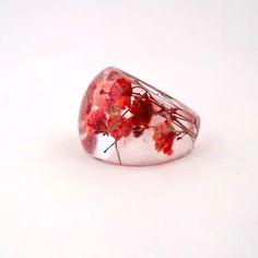 Anello resina rossa. Urgente del fiore Anello in resina.