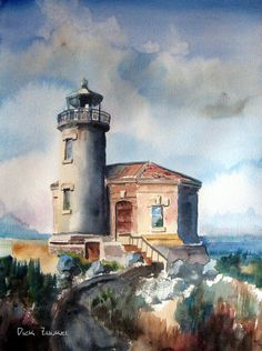 """Lighthouse on the Jetty.... Watercolor 22"""" x 30"""""""