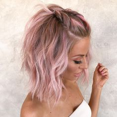 Pink Short Hair, Pink Blonde Hair, Pastel Pink Hair, Hair Color Pink, Hair Dye Colors, Short Hair Cuts Girls, Blonde Pink Balayage, Short Hair Colors, Pink Hair Tips