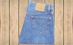 Vintage Levis 501 Jeans USA Made 1990s Mid Blue Stonewash Denim Straight Leg…