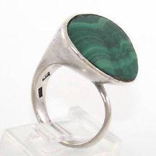 Vintage Sterling Silver Designer Malachite Modernist Abstract Ring Size 7