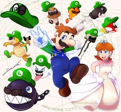 SUPER LUIGI ODYSSEYSpecial commission for who wanted Super Luigi Odyssey. The background felt really plain, so I added in all the different enemies Luigi can now possess. Super Mario Bros, Super Mario Kunst, Super Mario Brothers, Super Smash Bros, Donkey Kong, Minecraft Lego, Mario Und Luigi, Princesa Daisy, Ninja Turtles