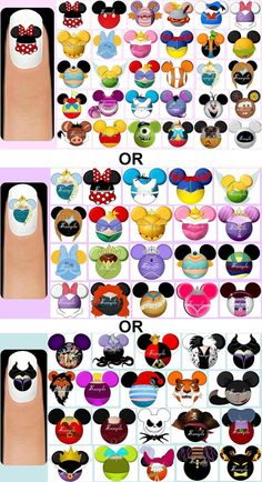 You are purchasing a set of 60 handmade Mickey Mouse Head Silhouettes VARIOUS CHARACTERS or DISNEY PRINCESSES or DISNEY VILLAINS inspired nail art