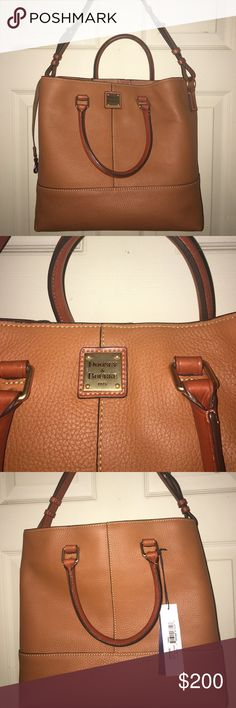 Beautiful Authentic Dooney & Bourke bag NWT Gorgeous large soft light brown/ tan leather bag with tons of storage!  NWT ALSO includes warranty card to be filled out in YOUR NAME along with serial number! Dooney & Bourke Bags Shoulder Bags