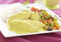 Poulet au curry et son croquant de légumes