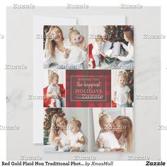 Red Gold Plaid Non Traditional Photo Collage Holiday Card Red Gold, Green And Gold, Christmas Card Holders, Christmas Cards, Holiday Greeting Cards, Holiday Photos, Favorite Holiday, Paper Texture, Merry