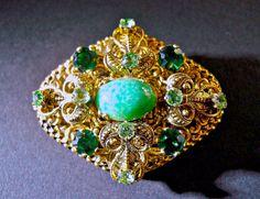 Victorian Revival Brooch Green Art Glass by RenaissanceFair