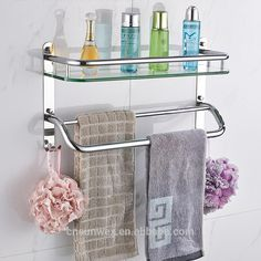 Wall Mounted Mental Bathroom Shelf Stainless Steel Bathroom Glass Shelf  With Towel Bar