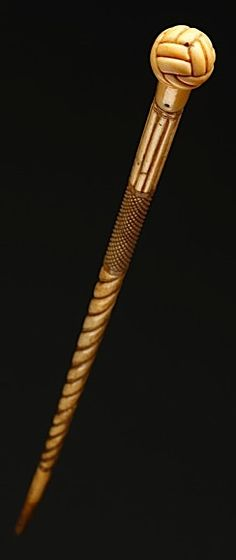 Sailors Scrimshaw Carved Marine Ivory and Whalebone Walking Stick (1800 to 1900 English)