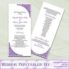 Purple Wedding Program Template  Diy by WeddingPrintablesDiy, $8.00