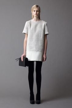 kiss dress. samuji, grey, white, black tights, clutch bag #minimalist #fashion