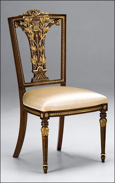 "Hepplewhite style carved beechwood side chair with antiqued walnut finish and antiqued goldleaf trim, Made in Italy. 40½"" h. Seat is 21½"" w. x 20½"" d. x 20"" h."