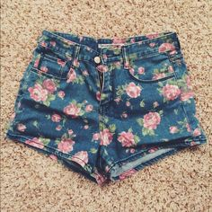 High Waisted Floral Jean Shorts High waisted jean shorts with floral print! Super stretchy. Cute with a white lace crop top! Shorts Jean Shorts