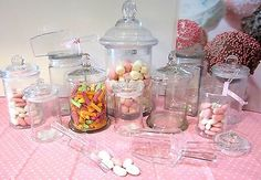 10 SET Apothecary Jars Candy Lolly Buffet Glass Jar Wedding Party & Scoops